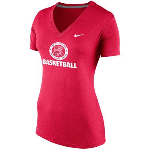 Women's Team USA Nike Basketball Performance V-Neck T-Shirt Red