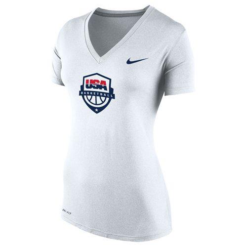 Women's Team USA Nike Basketball Performance V-Neck T-Shirt White