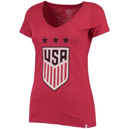 Women's Team USA Soccer '47 Three Stars Scrum V-Neck T-Shirt Red