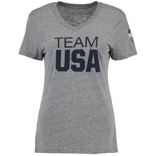 Women's Team USA V-Neck T-Shirt Heathered Gray