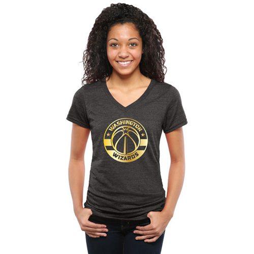 Women's Washington Wizards Gold Collection V-Neck Tri-Blend T-Shirt Black