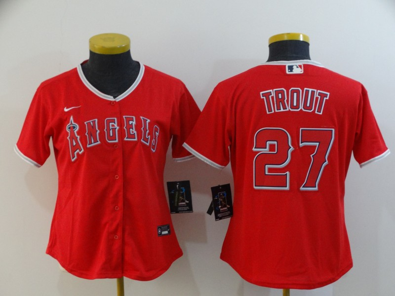 Women Angels 27 Mike Trout Red Women 2020 Nike Cool Base Jersey