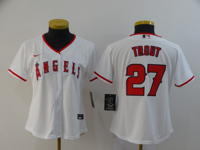 Women Angels 27 Mike Trout White Women 2020 Nike Cool Base Jersey