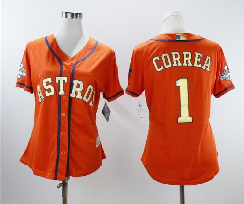 Women Astros 1 Carlos Correa Orange Women 2018 Gold Program Cool Base Jersey