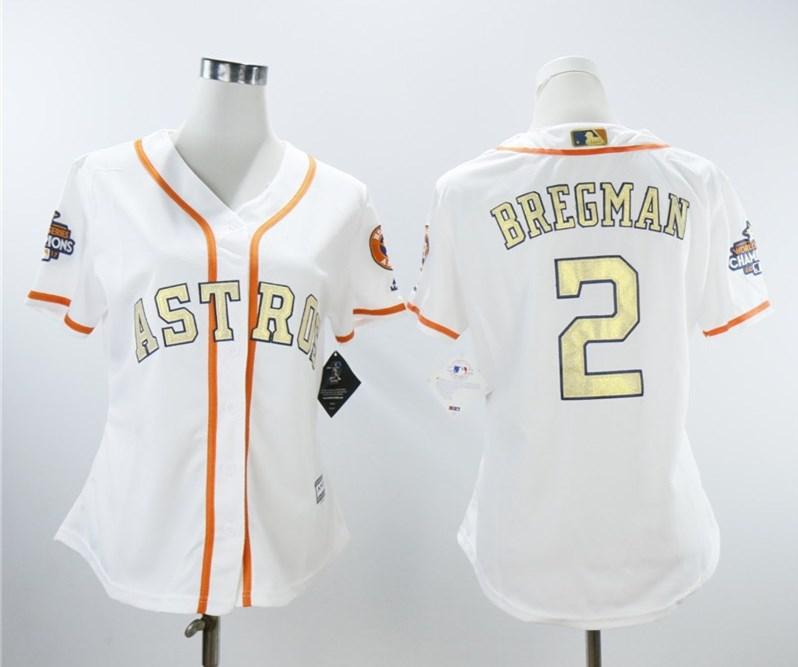 Women Astros 2 Alex Bregman White Women 2018 Gold Program Cool Base Jersey