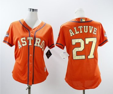 Women Astros 27 Jose Altuve Orange Women 2018 Gold Program Cool Base Jersey