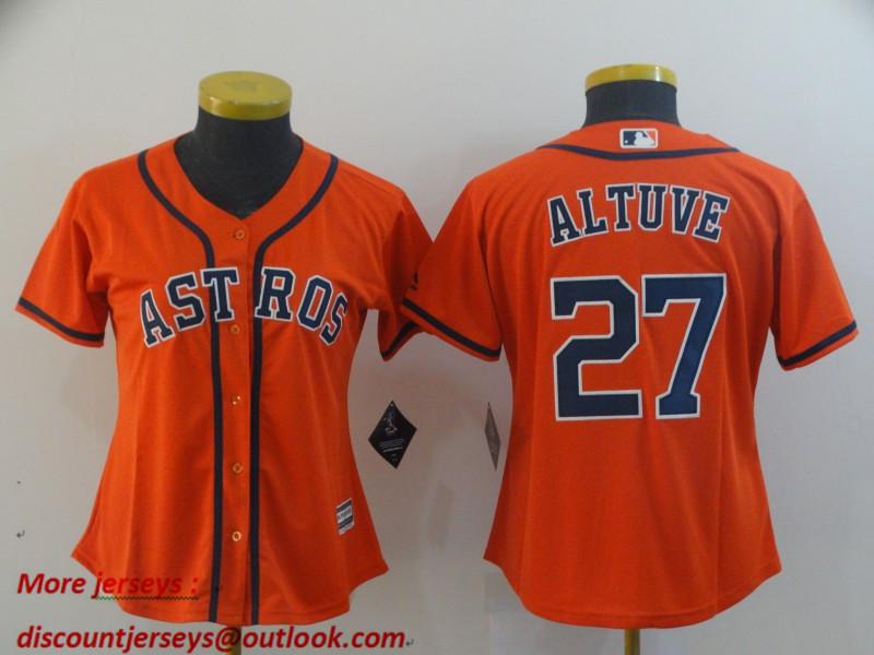 Women Astros 27 Jose Altuve Orange Women Cool Base Jersey