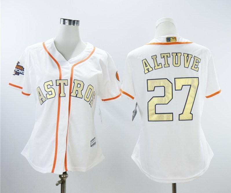 Women Astros 27 Jose Altuve White Women 2018 Gold Program Cool Base Jersey