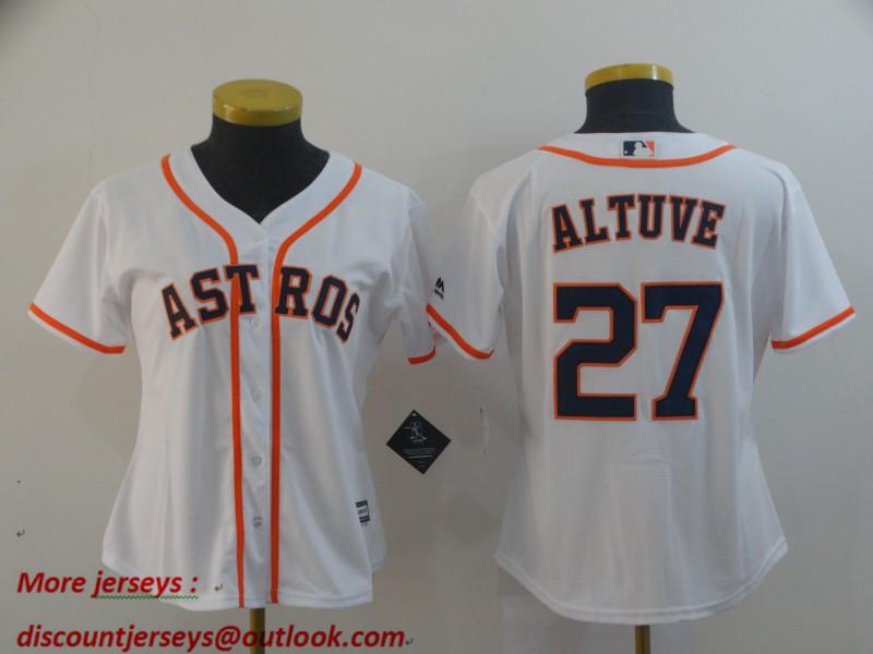 Women Astros 27 Jose Altuve White Women Cool Base Jersey