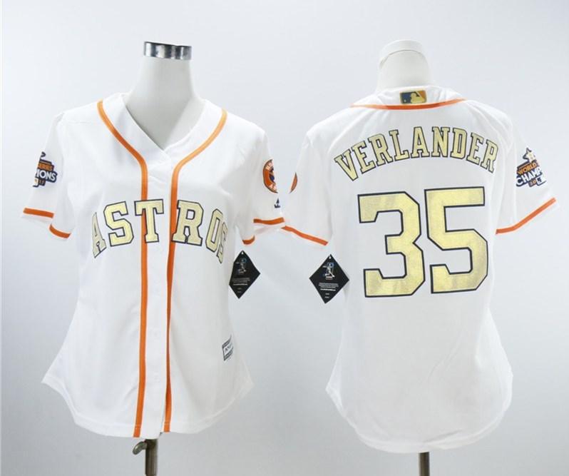 Women Astros 35 Justin Verlander White Women 2018 Gold Program Cool Base Jersey