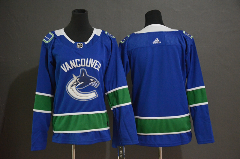 Women Canucks Blank Blue Women Adidas Jersey