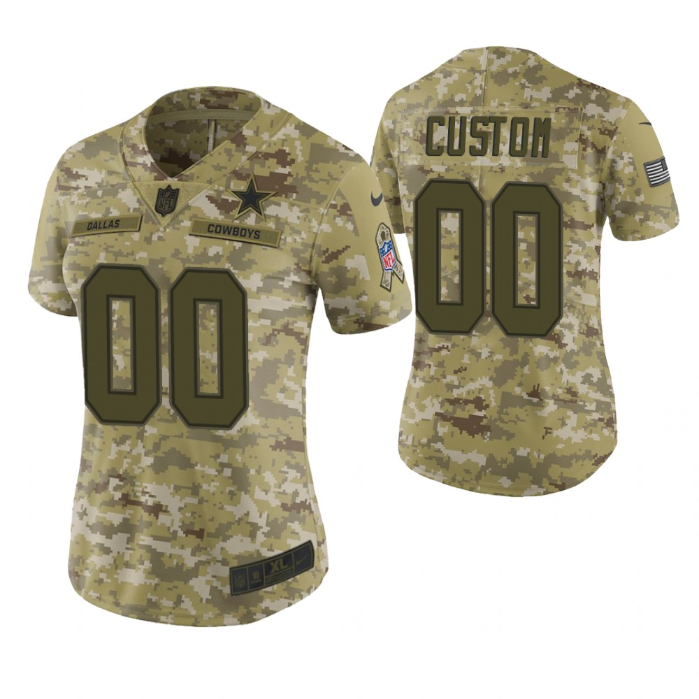 Women Dallas Cowboys Custom Camo 2018 Salute To Service Limited Jersey