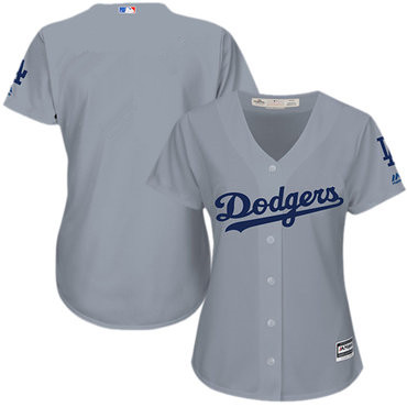 Women Dodgers Grey Alternate Road Stitched blank Baseball Jersey