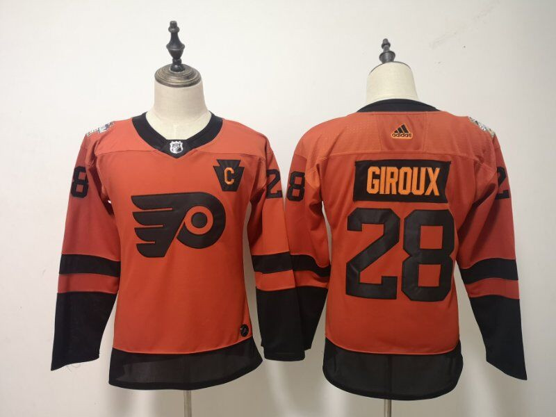 Women Flyers 28 Claude Giroux Orange Women 2019 NHL Stadium Series Adidas Jersey