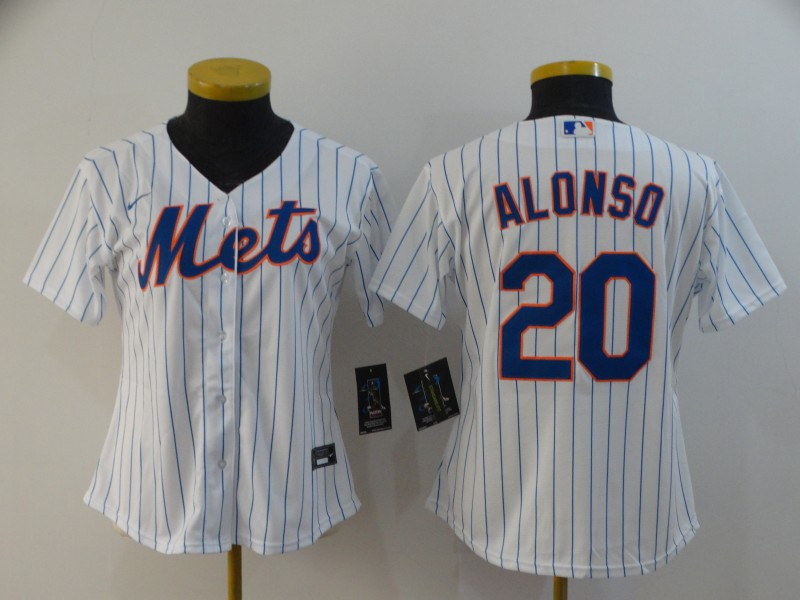 Women Mets 20 Pete Alonso White Women 2020 Nike Flexbase Jersey