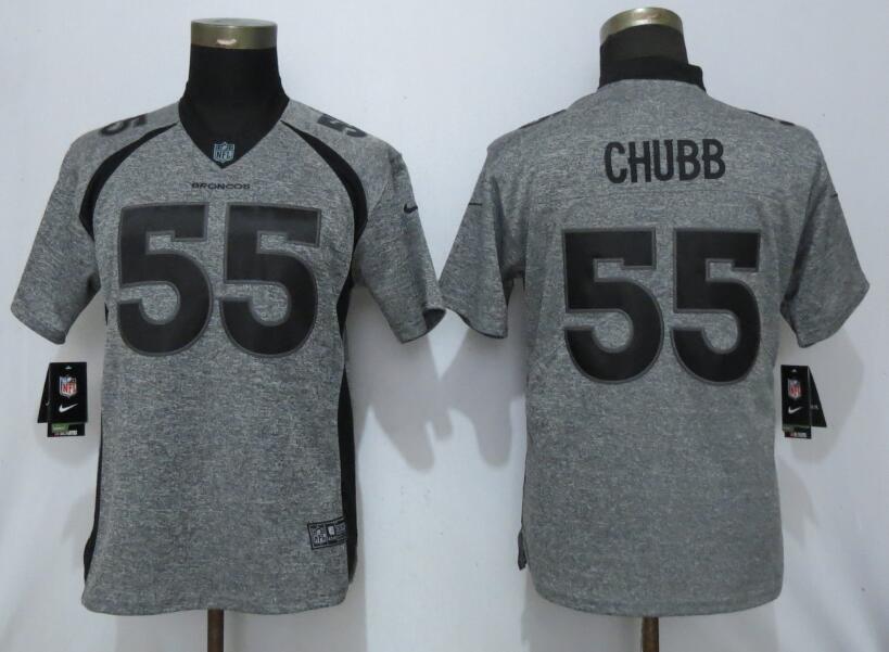 Women Nike Broncos 55 Bradley Chubb Gray Gridiron Gray Women Vapor Untouchable Limited Jersey