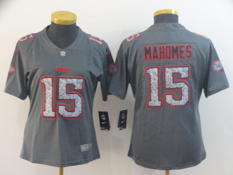 Women Nike Chiefs 15 Patrick Mahomes Gray Camo Women Vapor Untouchable Limited Jersey