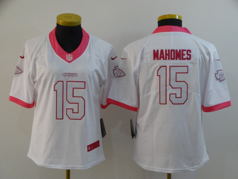 Women Nike Chiefs 15 Patrick Mahomes White Pink Women Vapor Untouchable Limited Jersey