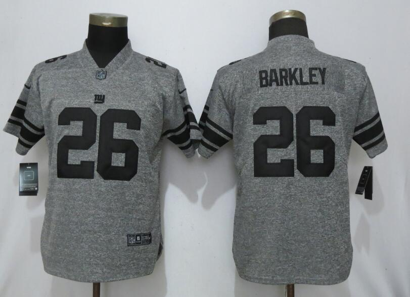 Women Nike Giants 26 Saquon Barkley Gray Gridiron Gray Women Vapor Untouchable Limited Jersey