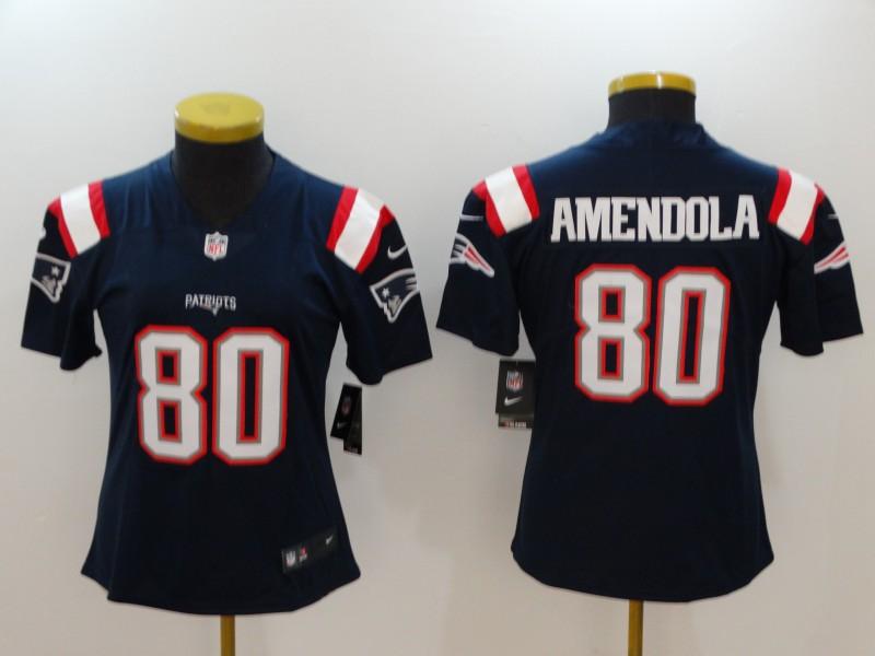 Women Nike Patriots 80 Danny Amendola Navy Women Color Rush Limited Jersey