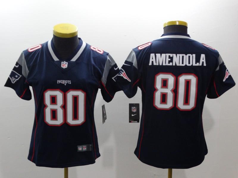 Women Nike Patriots 80 Danny Amendola Navy Women Vapor Untouchable Player Limited Jersey