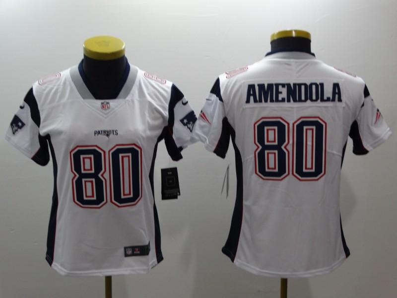 Women Nike Patriots 80 Danny Amendola White Women Vapor Untouchable Player Limited Jersey
