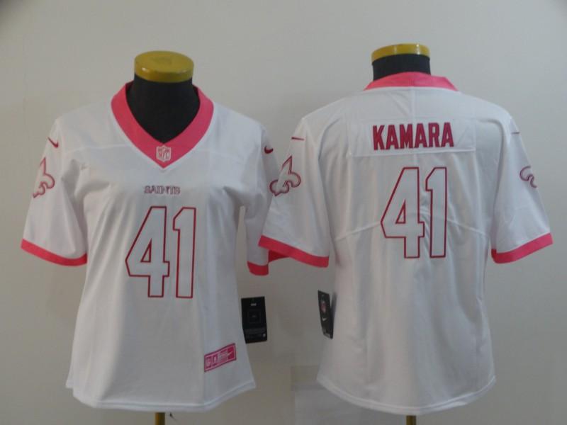 Women Nike Saints 41 Alvin Kamara White Pink Fashion Women Rush Limited Jersey