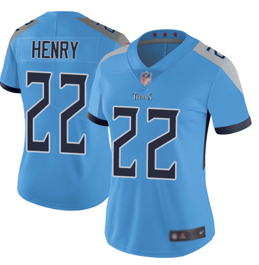 Women Nike Titans 22 Derrick Henry Blue Women New Vapor Untouchable Player Limited Jersey