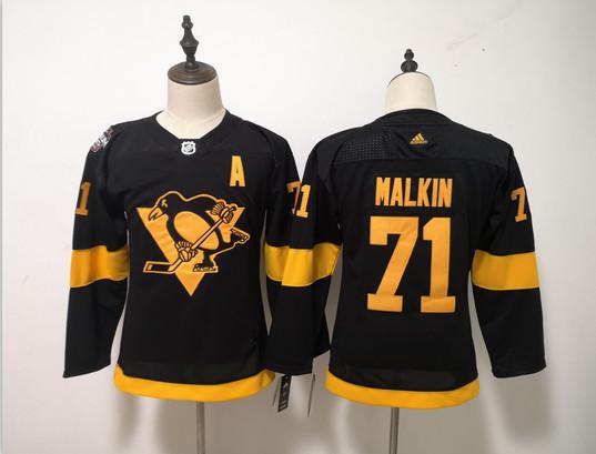 Women Penguins 71 Evgeni Malkin Black Women 2019 NHL Stadium Series Adidas Jersey