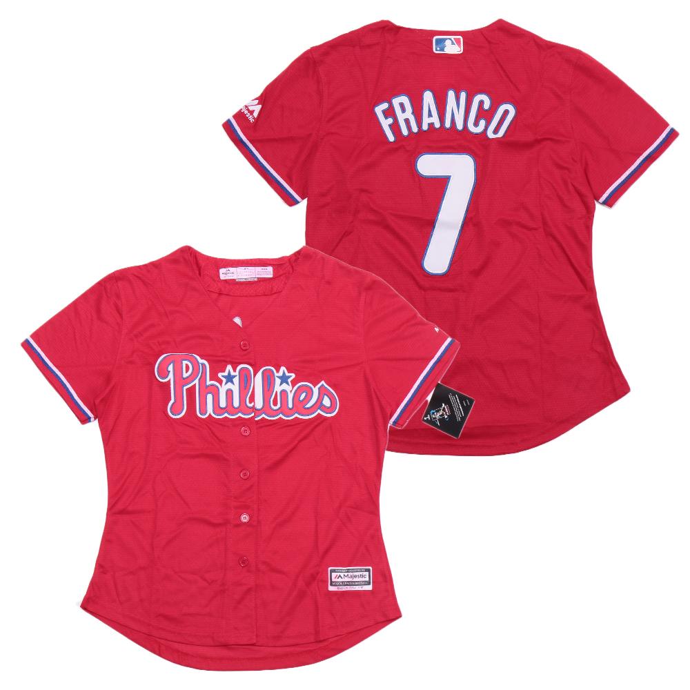 Women Phillies 7 Maikel Franco Red Women Cool Base Jersey