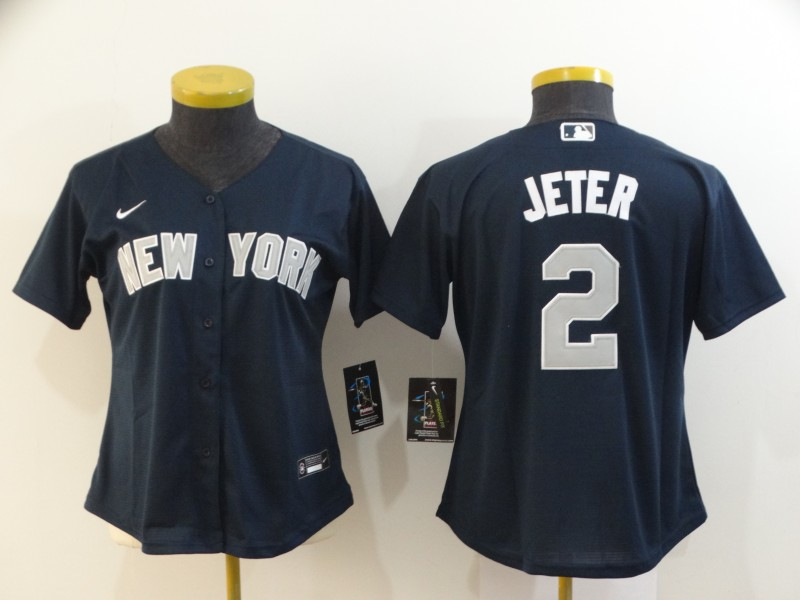 Women Yankees 2 Derek Jeter Navy Women 2020 Nike Cool Base Jersey