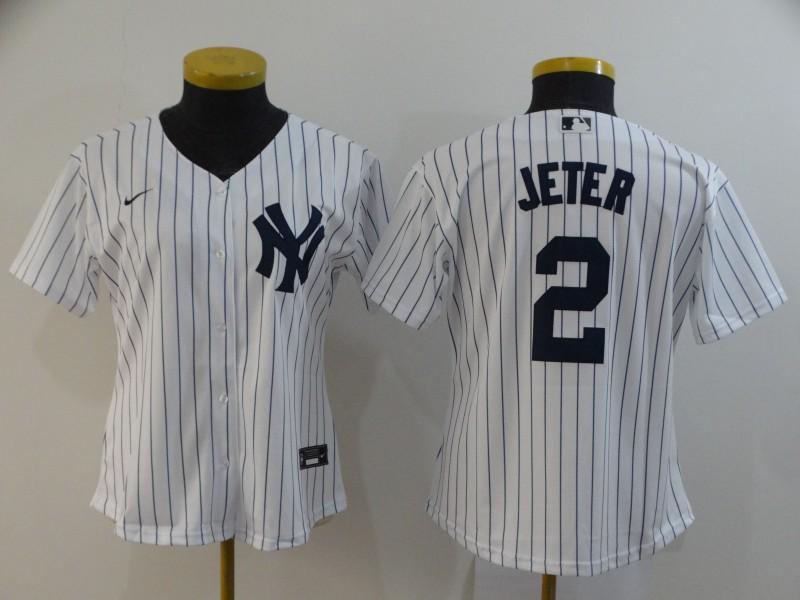Women Yankees 2 Derek Jeter White Women 2020 Nike Cool Base Jersey