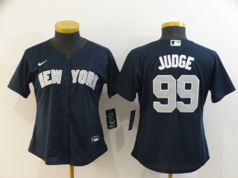 Women Yankees 99 Aaron Judge Navy Women 2020 Nike Cool Base Jersey