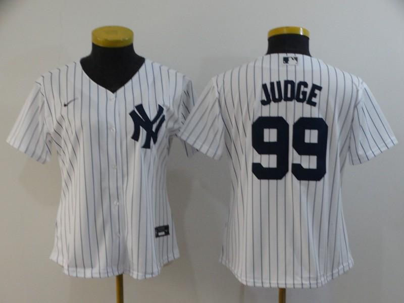 Women Yankees 99 Aaron Judge White Women 2020 Nike Cool Base Jersey