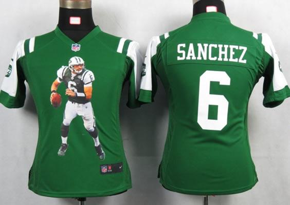 ba6362d40f4 Loading Zoom, please wait Womens New New York Jets 6 Sanchez Green Portrait  Fashion Game Jerseys