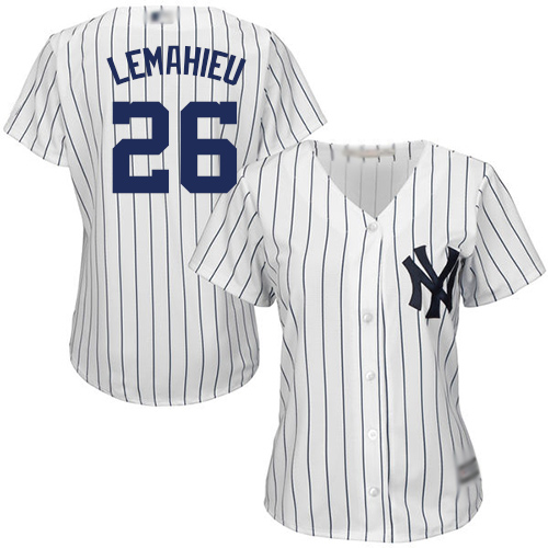 Yankees #26 DJ LeMahieu White Strip Home Women's Stitched Baseball Jersey
