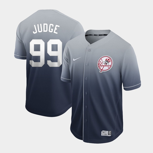 Yankees #99 Aaron Judge Navy Fade Authentic Stitched Baseball Jersey