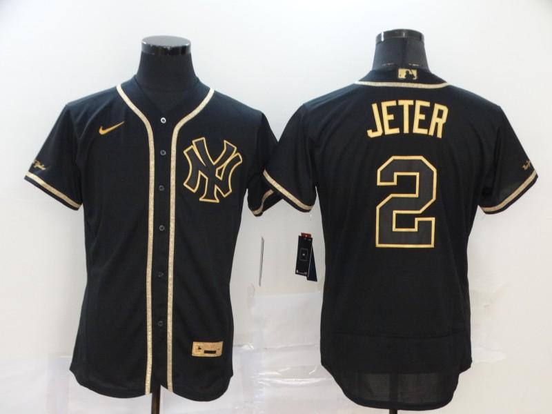 Yankees 2 Derek Jeter Black Gold Nike Flexbase Jersey