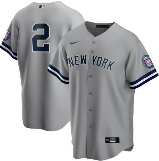 Yankees 2 Derek Jeter Gray Nike 2020 Nike Hall Of Fame Induction Cool Base Jersey