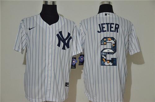 Yankees 2 Derek Jeter White Nike Cool Base Player Jersey