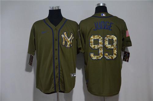 Yankees 99 Aaron Judge Olive 2020 Nike Cool Base Jersey