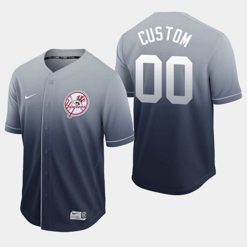Yankees Custom Navy Fade Authentic Jersey
