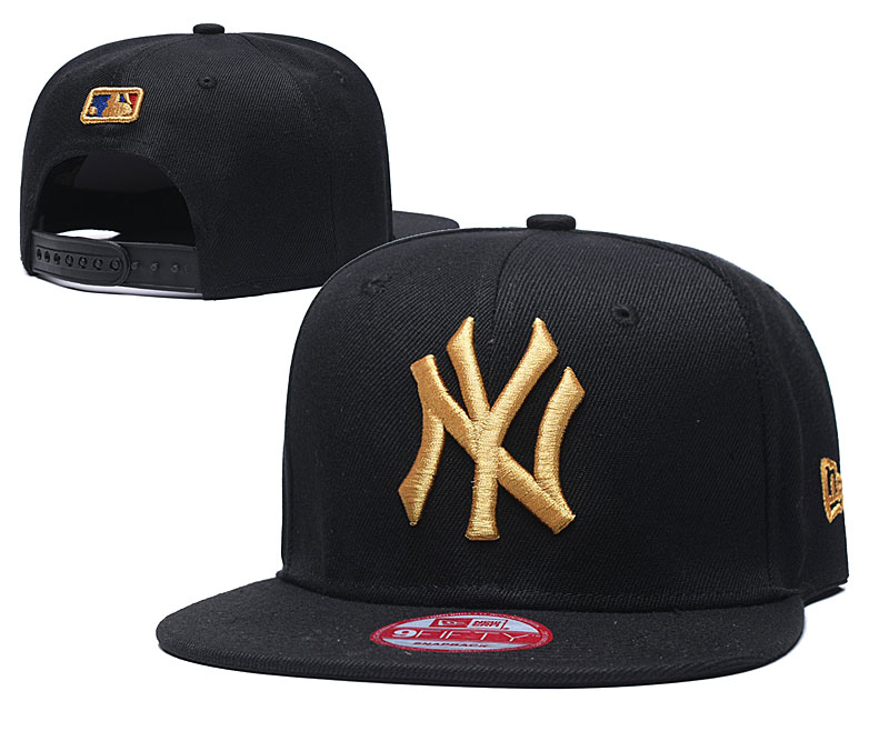 Yankees Team Gold Logo Black Adjustable Hat TX