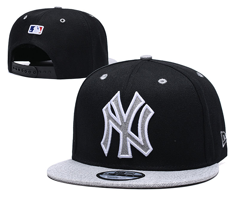 Yankees Team Logo Black Gray Adjustable Hat TX