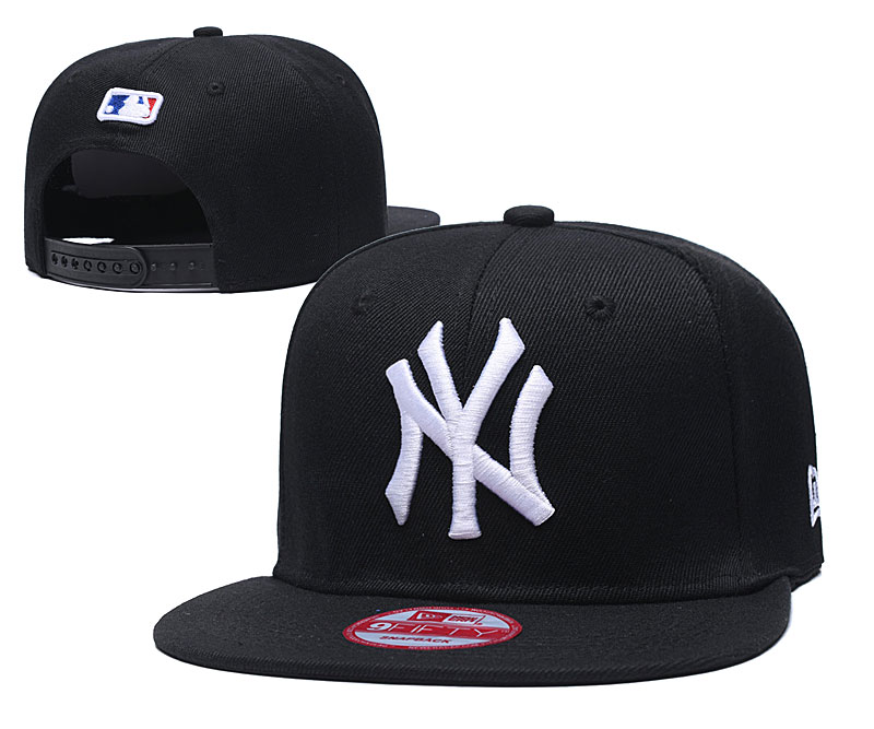 Yankees Team White Logo Black Adjustable Hat TX