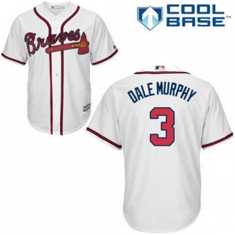 Youth Braves #3 Dale Murphy White Cool Base Jersey