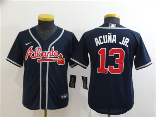 Youth Braves 13 Ronald Acuna Jr. Nave Youth 2020 Nike Cool Base Jersey