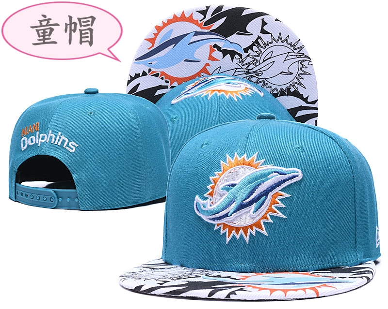 Youth Dolphins Team Logo Aqua Adjustable Hat GS