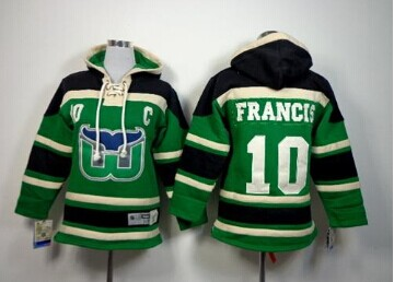 Youth NHL Whalers #10 Ron Francis Green Sawyer Hooded Sweatshirt Jersey