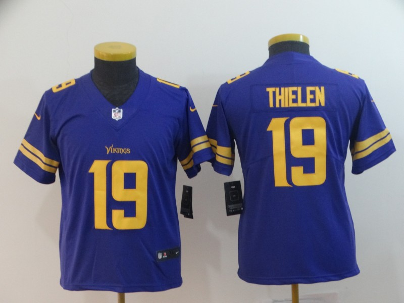 Youth Nike Vikings 19 Adam Thielen Purple Youth Color Rush Limited Jersey
